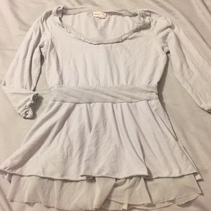 Anthropologie gray blouse with tulle trim